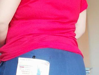 pantalon bleu de travail de dos